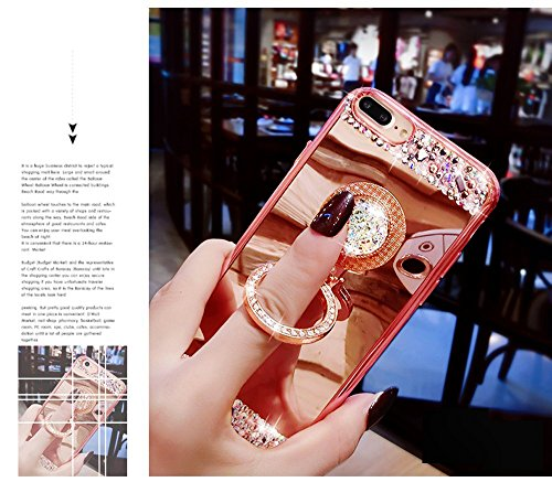 iPhone 8Plus Silikon Hülle, Spiegelmuster CLTPY iPhone 7Plus Luxus Glanz Sparky Diamant Schale Fall mit Grip Ring & Gold Plating Rand für Apple iPhone 7Plus/8Plus + 1 x Freier Stylus Gold