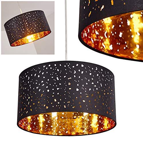 Hängeleuchte Nivel aus Metall Nickel matt und Stoff schwarz/Gold, moderne runde Pendellampe für Schlafzimmer, Wohnzimmer, Esszimmer -