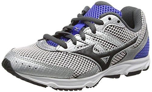 Mizuno Spark Jr, Chaussures de Running Compétition Mixte Enfant, Argent-Silver (Silver/Black/Dazzling Blue), 38 EU