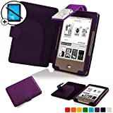 Forefront Cases® Tolino Page Shell Hülle Schutzhülle Tasche Bumper Folio Smart Case Cover Stand mit LED Licht - Leicht mit Rundum-Geräteschutz inkl. Eingabestift und Displayschutz (Violett)