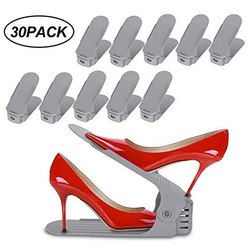 WIS 30 Stück Verstellbarer Schuhstapler,Schuhregal/Schuhhalter Set Space Saver Für Herren Damen