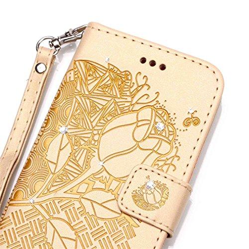 Mk Shop Limited [Coque iPhone 6S Plus] Fine Folio Wallet/Portefeuille en Bonne Qualité PU Cuir Housse pour iPhone 6S Plus Coque antichoc Gaufrage Motif avec Diamant Briller Bookstyle Flip Case Intérie Multi-couleur 30