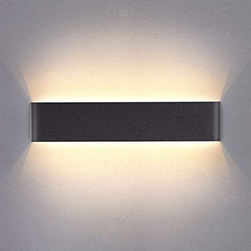 Yafido Aplique Pared Interior LED 14W Lámpara de pared Moderna Negro Blanco Cálido Aluminio Acrílico...