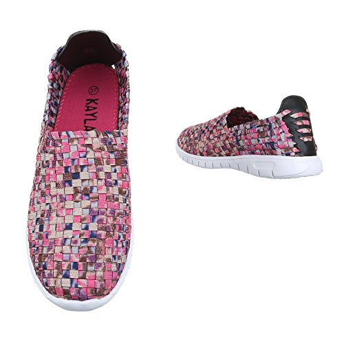 Slipper Damen Schuhe Low-Top Leichte Ital-Design Halbschuhe Pink Multi