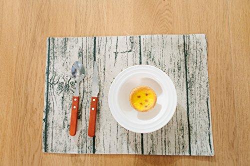 FiveRen Platzset/ Tischsets, Rechteck Baumwolle und Leinen Tuch Tischsets geeignet für Esstisch Kinder Kleinkinder 45x32 cm (8er Set, schwarzes Holz Korn) (Staat Stricken)