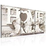 decomonkey | Bilder Home Engel 120x60 cm | 3 Teilig | Leinwandbilder | Bild auf Leinwand | Vlies | Wandbild | Kunstdruck | Wanddeko | Wand | Wohnzimmer | Wanddekoration | Deko | weiß Haus Holz Herzen Liebe Vintage Retro