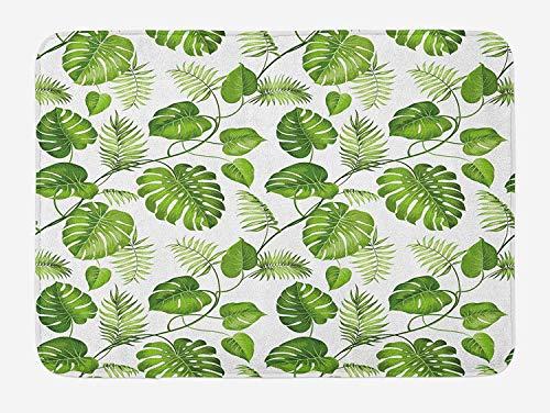 KIYINY Leaf Bath Mat, Brazilian Rainforest Foliage Nature Ivy Swirls Palm Banana Trees Leaves Art Print, Plush Bathroom Decor Mat with Non Slip Backing, Pale Green 19.6X31.4 inches/50X80cm -