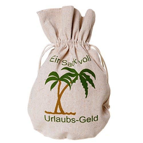 Preisvergleich Produktbild Säckchen aus Jute mit Zugband natur mit Spruch Sack voll Urlaubsgeld 23x14cm
