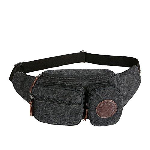 Genda 2Archer Multi-tasche Sacchetto Della Vita Della Tela di Canapa Mens per Outdoor nero