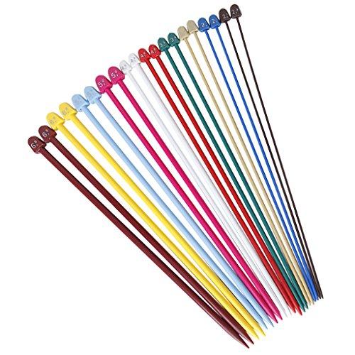 Imported Set of 20 Pcs 10 Sizes Multicolor Plastic Knitting Needles Single Po...-14009190MG