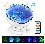 Hypnotischer Ozeanfernlicht-Projektions-Licht-Nachtlicht-Sternprojektor USB Mit 7 Beleuchtungsmodus, Entspannende Helle Show Für, Stimmungslicht Für Baby-Kinderzimmer-Schlafzimmer-Wohnzimmer,White