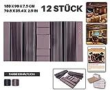 Ace Punch 12 Stücke BURGUND Wand-Set Akustikschaumstoff Dämmung Mit freien Befestigungslaschen 120 x 90 x 7.5 cm AP1044