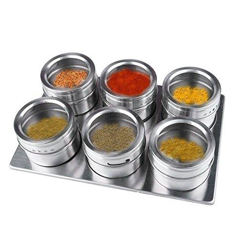 Edelstahl-magnetisches Gewürz-Gläser mit Ständer, 6 Stück Küche Menage Storage Jar Tray Set