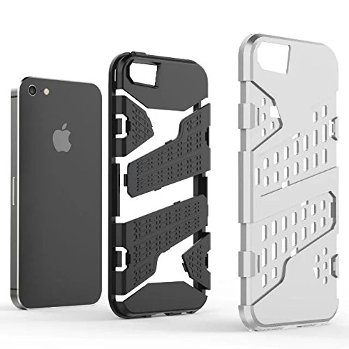 iPhone 5 5S Coque,iPhone SE Coque,Lantier Armor avec Air Hole Design Contre jour léger Dual Layer Hybrid Defender Housse de protection pour iPhone 5/5S/SE vert Silver