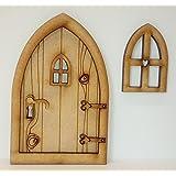 Kit de manualidades Puerta de hadas 3d de madera rústico con ventana y accesorios