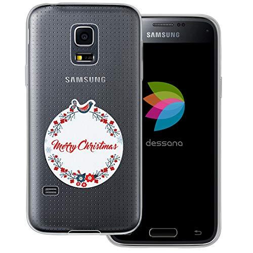 dessana Weihnachten Vintage transparente Schutzhülle Handy Case Cover Tasche für Samsung Galaxy S5 Mini Weihnachts Kranz