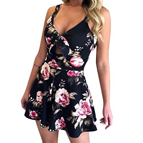 Plus Size, Amoyl Anzüge Damen Sommer 2019 Party Elegant Kurzarm Sommer Print für die Ferien Damen ()