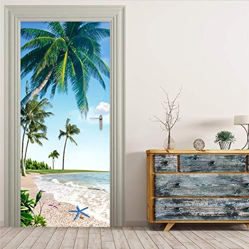 Etiqueta Autoadhesiva Para La Puerta Playa De Playa En 3D Paisaje De Palma De Coco Restaurante Restaurante Baño Pegatinas De Pared A Prueba De Agua77 X 200 Cm