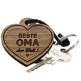 Lieblingsmensch aus Holz - Beste Oma Schlüsselanhänger, 12 cm, Braun