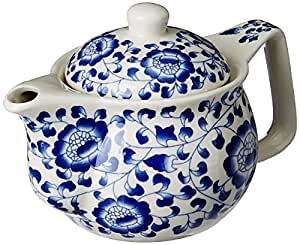 Purpledip Beautifully Painted Ceramic Kettle, Small Kettle .35 litres Strainer Included (10729)