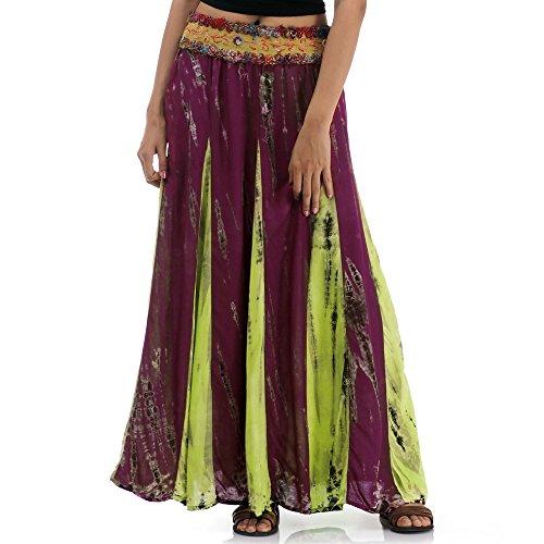 Langer Hippie Batik Gypsy Zigeuner Rock 36 38 40 42 S M (Weinrot & Grün) (Gypsy Kostüm Frauen)