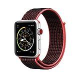 METEQI für Apple Watch Armband, Nylon Sport Schlaufe Handgelenk Uhrband Ersatz Armreif Uhrenarmband für iWatch Apple Watch Series 3, Series 2, Series 1, Edition (42MM, Bright Crimson/Schwarz)