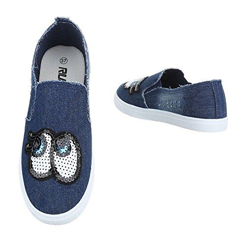 Ital-Design , chaussons d'intérieur femme Blau FC-V205