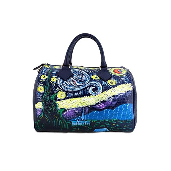 Hand-painted genuine leather shoulder bag – STARRY NIGHT BY VAN GOGH - Women Bag, Hand Bag, Genuine Leather, Made in Italy, Painted Leather, Handbag and Shoulder Bag, Craftsmanship - handmade-bags