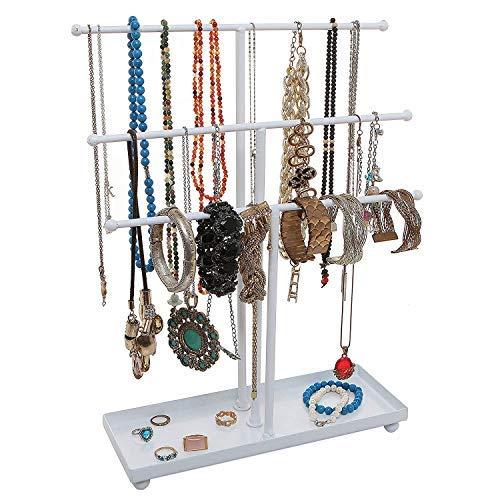 Hossejoy Porta collane in Metallo Bianco a 3 Ripiani da Tavolo per Braccialetti e collane, espositore per Anelli, per collane, bracciali, Orecchini, Anelli e Orologi