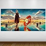 EXTRA GROßE Blau asiatischen Mädchen Regenschirm Fantasy Vinyl Sticker Poster Wandsticker Wandtattoo Wandbild Wanddeko -140cm x 70cm (p3211)