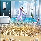 Fushoulu Boden Wandbild Moderne Sommer Strand Muscheln Und Starfish Selbstklebende Bodenbilder Für Badezimmer Wohnzimmer Tapete Rolle-150X120Cm