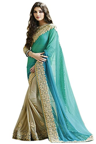 BMR Women\'s Georgette Saree with Blouse Piece (Turquoise_Free Size)