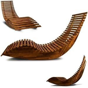 Wooden sun lounger garden patio deck chair curved sauna for Chaise longue pare soleil