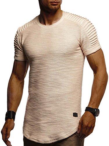 LEIF NELSON Herren Sommer T-Shirt Rundhals-Ausschnitt Slim Fit Baumwolle-Anteil | Moderner Männer T-Shirt Crew Neck Hoodie-Sweatshirt Kurzarm lang | LN6325 Beige Medium