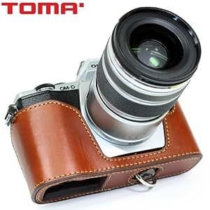 Étui pour Olympus OM-D E-M5 - Vrai Cuir - Marron - Étui de protection pour Appareil photo Olympus OM-D E-M5 - Body Case en Cuir - Camera housse de Toma