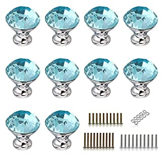 IGNPION 30mm Crystal Glass Drawer Door Knob Cupboard Pull Handles for Bedside Cabinet, Dresser Unit and Chest Furniture 10 Pcs (Aqua Blue)
