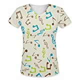 Snoogg Multicolor Music Womens Casual V-Neck All Over Printed T Shirts Tees Amazon