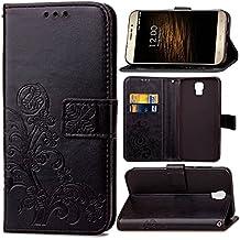 Guran® Funda de Cuero PU para UMI Rome / Rome X Smartphone Función de Soporte con Ranura para Tarjetas Flip Case Trébol de la suerte en Relieve Patrón Cover - Negro