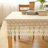XTUK Home Decoration Tischdecke Tischdecke Weiß Stoffbezug Stoffbezug Handtuch Stoff Tischdecke Spitze Kaffeetischdecke Kaffeetischdekor Stoff Tischdecke Beige 145 * 215 cm