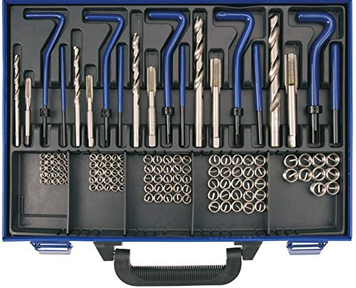 BGS 1950 | Gewinde-Reparatursatz | 130-tlg. | M5 - M12 | metrisch | Gewindeeinsätze aus Edelstahl | inkl. Metallkassette