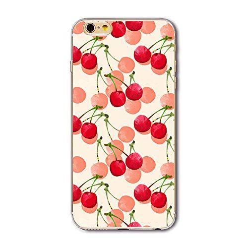 Coque iPhone 5/5S Housse étui-Case Transparent Liquid Crystal en TPU Silicone Clair,Protection Ultra Mince Premium,Coque Prime pour iPhone 5/5S-Géométrique Cerise