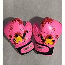 afgloves Colorido Bebé Niñas Niños Niños Guantes de Boxeo Strike Muay Thai Karate Fight Niños Diversión Jugar Mitones Punch Training @ Pink_2