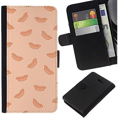 Supergiant (Hot Dog Peach Fast Food Pattern Junk) Disegno di cuoio di stile del raccoglitore della Case di telefono della pelle custodia protettiva Pe Sony Xperia M2 / M2 dual / M2 dual / M2 dual - 2 ° Fast Peach
