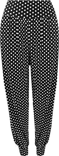 WearAll - Damen Übergröße Polka Dot Harem hose lange Länge - Schwarz - 40-42 (Dot Polka Hose Leggings)