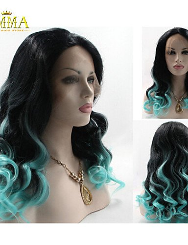 Fashion wigstyle Tyra Banks 'Lace Front Perücke Ombre natürliches Schwarz/Hellblau Zwei Ton lockig hitzebeständig Haar Perücken Neu Perücke auf Verkauf billige