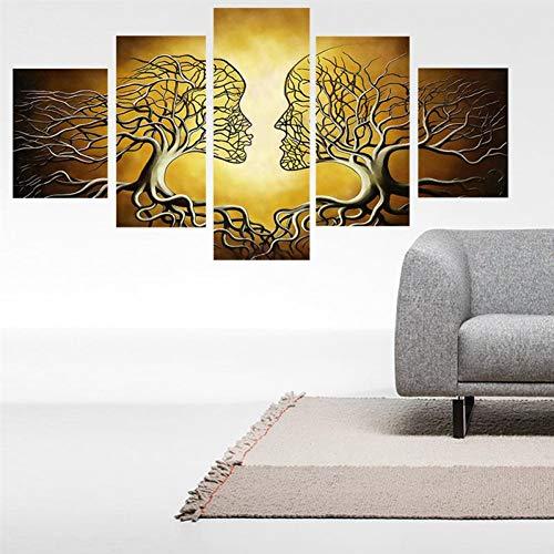 Zyjcc 5 stampe su canvas con telaio decorazioni per la casa arte della parete pittura calligrafia zucche di halloween faccia dipinti su tela stampe poster immagine artistica