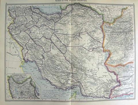 HARMSWORTH MAP 1906 PERSIA AFGHAN AZERBAIJAN ORMUZ