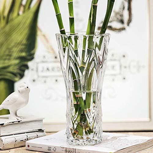 Yetta Home Europäische Burg transparent Glasvase Reiche Bambus Blumenarrangement große Vase Wohnzimmer Tischdekoration Dekoration