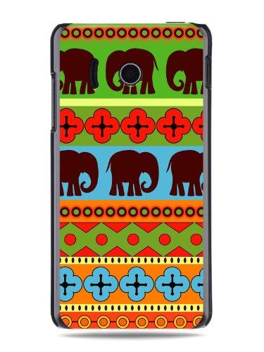 """GRÜV Premium Case - Design """"Afrikanische Elefanten, Tribalkunst"""" - Qualitativ Hochwertiger Druck Schwarze Hülle - für Huawei Ascend Y300 U8833 T8833"""