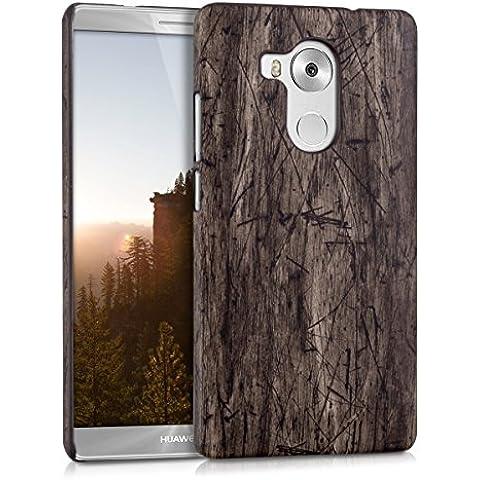 kwmobile Funda Hardcase Diseño madera vintage para Huawei Mate 8 en marrón oscuro